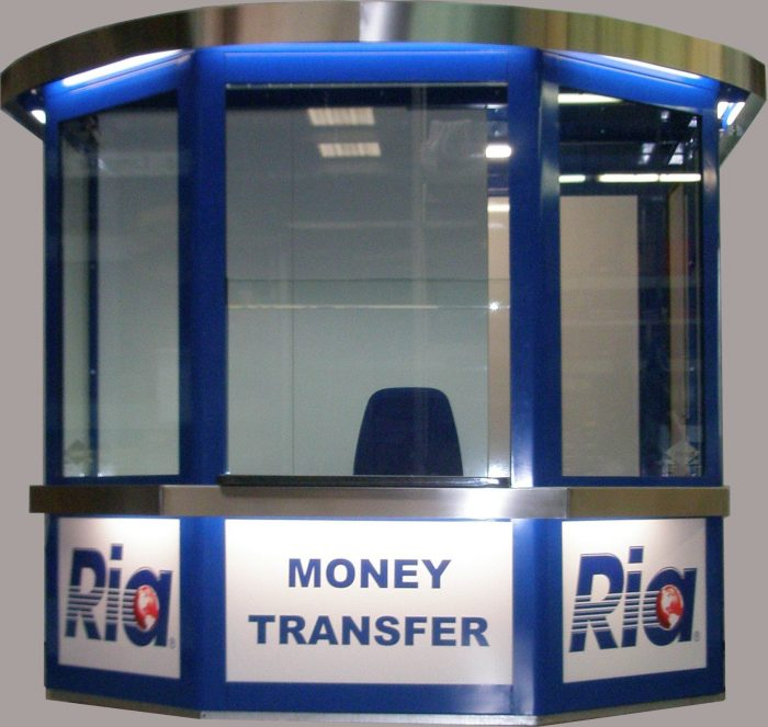 Wechselstube Wechselkiosk Container Geld Money Change Transfer Cube Pavillon