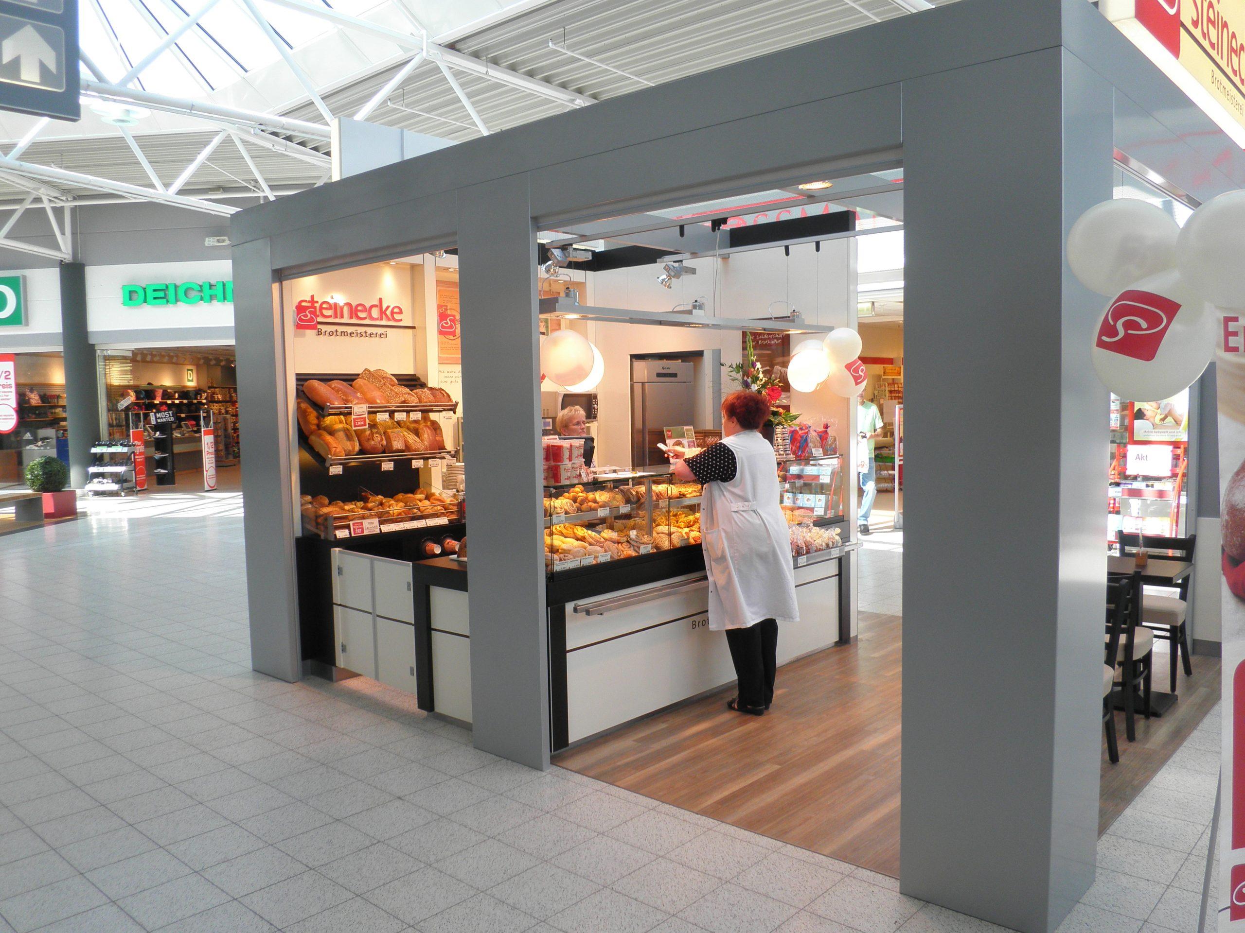 Bäcker Brötchen Brot Kiosk Pavillon Mall Verkaufsstand Einkaufszentrum Indoor Cube