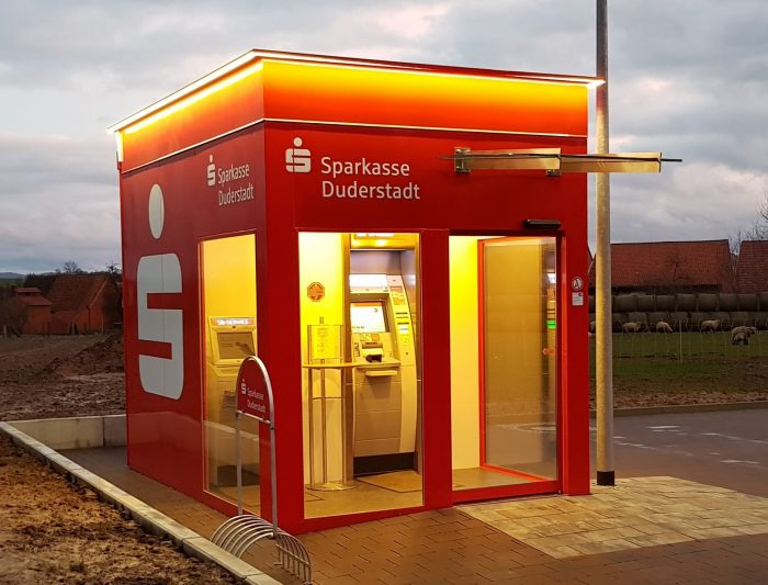 Cash Pavillon Terminal Bank Geldautomat Container